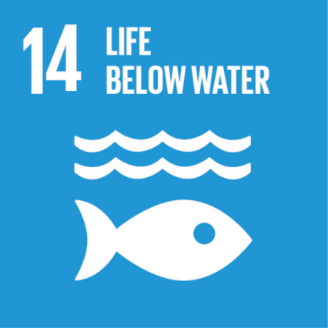 This is an image of #14 of The United Nations  Sustainable Development Goals - Life Below Water. The image is of a white fish facing to the right with two waves above it. The image is on a light blue background.