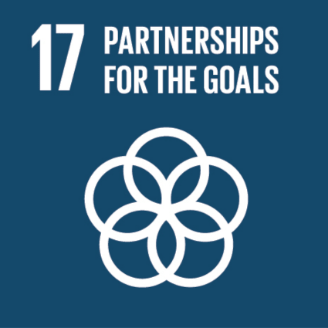 This is an image of #17 of The United Nations  Sustainable Development Goals - Partnerships for the Goals The image is of five white rings intersecting one another. The image is on a dark blue background.