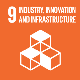 This is an image of #9 of The United Nations  Sustainable Development Goals - Industry, Innovation and Infrastructure. The image is of three white 3-D building blocks and is on a orange background.