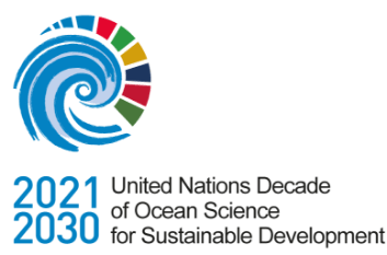 This is the 2021-2030 United Nations Decade of Ocean Science for Sustainable Development. This includes a whirlpool with multiple shades of colours next to it.